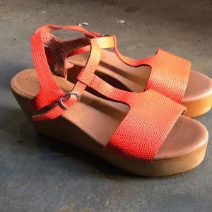 Madewell orange leather platform sandals 7 1/2